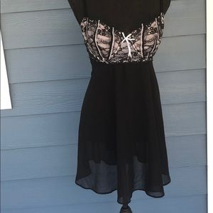 Simple black lace nightgown
